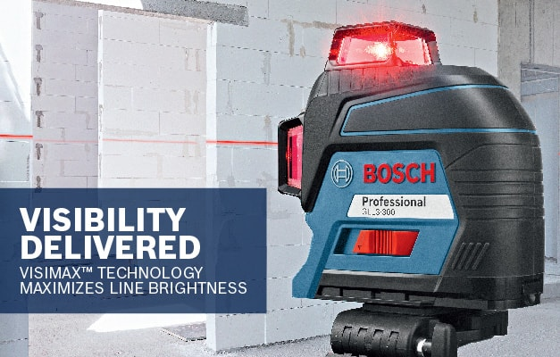 Bosch GLL3-300 showing maximum line visibility with VisiMax Technology.