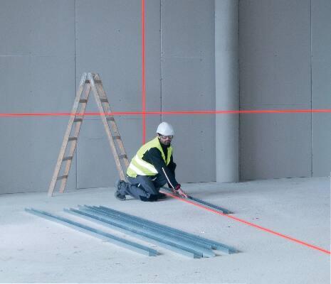 Cross lines on wall to align, square and plumb job setup.