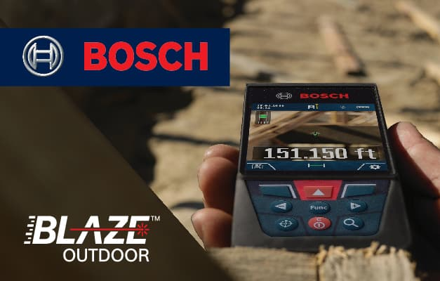 Bosch GLM400C being used to take measurement outside.