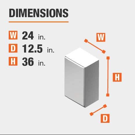 Cabinet dimensions are 36 in. H x 24 in. W