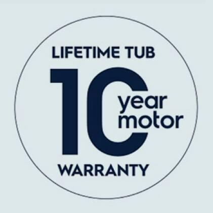 10-Year Motor and Lifetime Tub Warranty