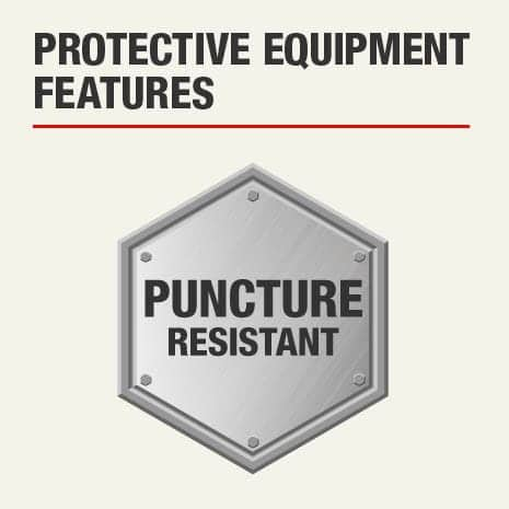 The protective feature of this knee pad is that it is puncture resistant