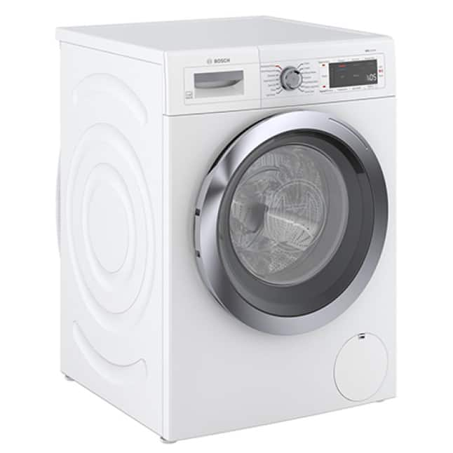 Side view of Bosch 800 Series Compact Washer with noise reduction