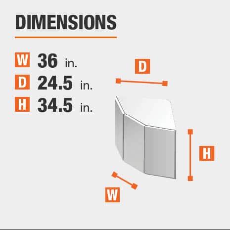 Cabinet dimensions are 34.5 in. H x 36 in. W