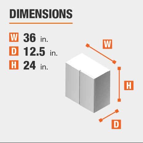 Cabinet dimensions are 24 in. H x 36 in. W