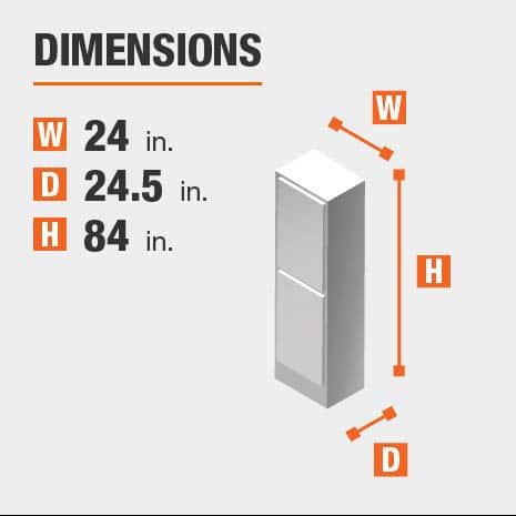 Cabinet dimensions are 84 in. H x 24 in. W