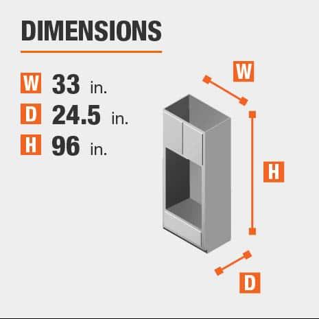 Cabinet dimensions are 96 in. H x 33 in. W