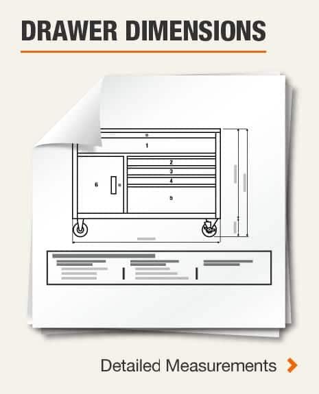 Drawer Dimensions (1) Left Side Vertical Drawer, (1) Long Drawer, (4) Left Side Drawers, (5) Right Side Drawers