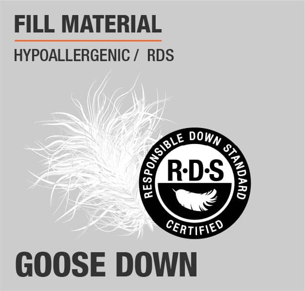 Fill Material Goose Down Hypoallergenic RDS