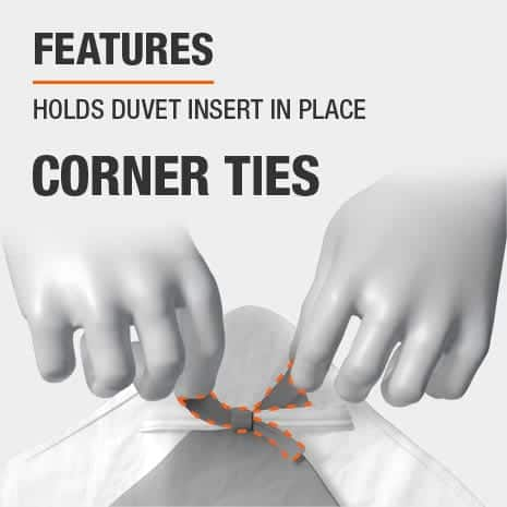Duvet cover features corner ties to hold the insert in place