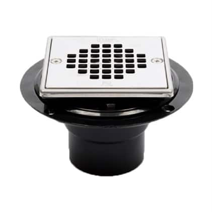 Rounded drain with square strainer