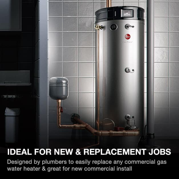 Designed by plumbers to easily replace any commercial gas water heater & great for new commercial install.