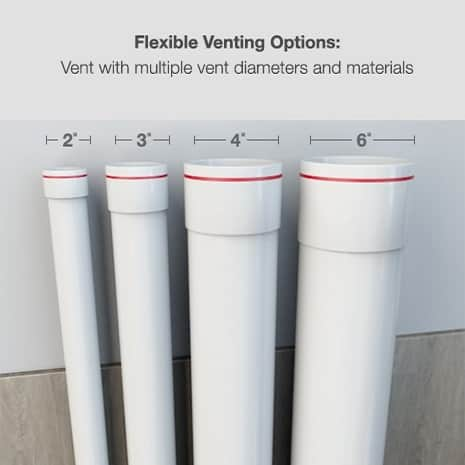 Flexible venting options with multiple vent diameters and materials.