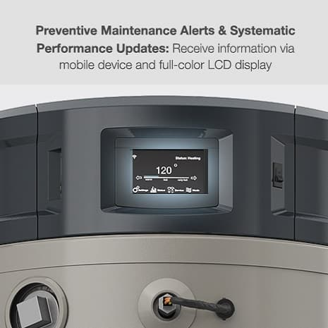 Smart monitoring with preventative maintenance alerts and systematic performance updates via mobile device and full color LCD display.