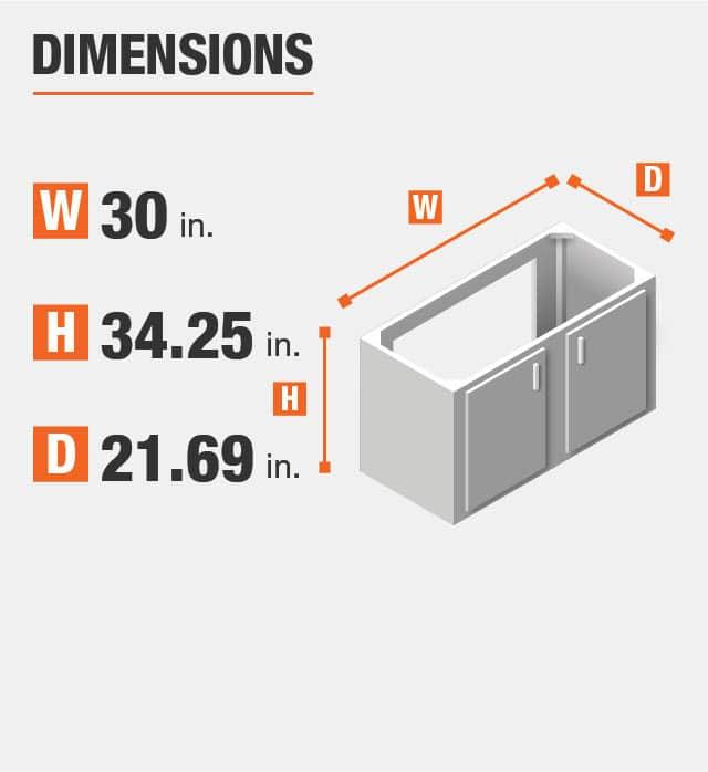 Bath vanity measures as a 30  in. width