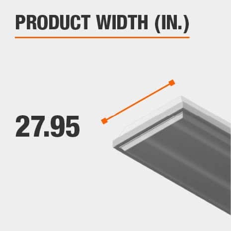 This light fixture has a width of 25.98 inches.