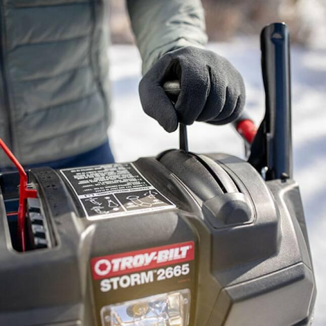 snow blower, snow thrower, just one hand, clutch lock, Troy-Bilt