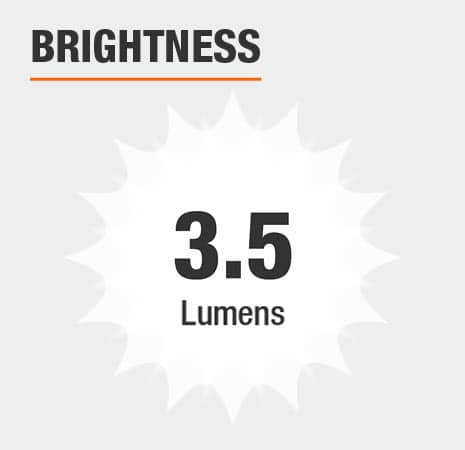 This light has a brightness of 3.5 lumens.