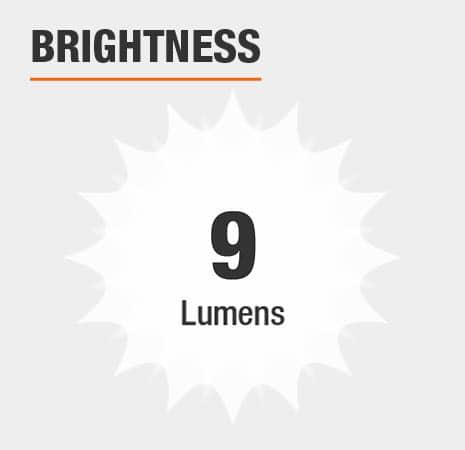 This light has a brightness of 9 lumens.
