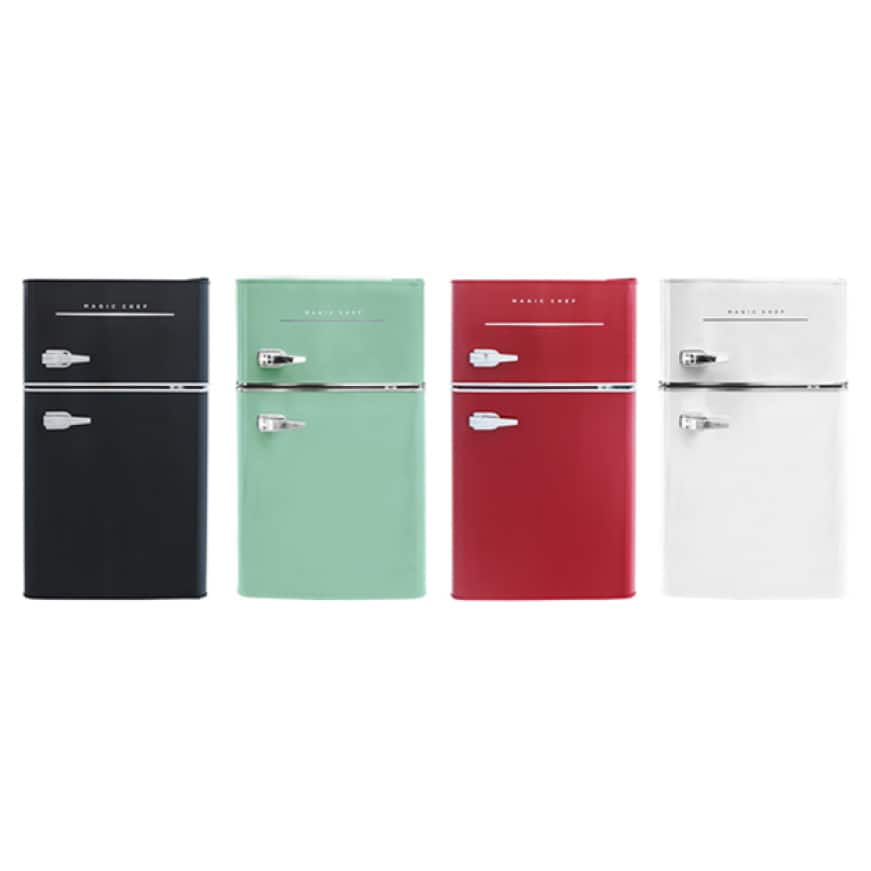 Magic Chef Retro 2-Door Mini Fridge comes in a variety of sizes and colors