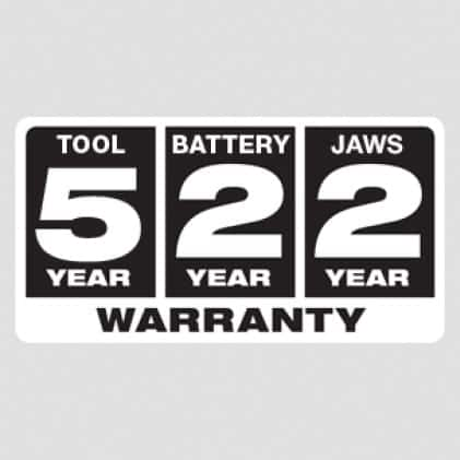 Five Year Tool, Two Year Battery, 2 Year Jaw Warranty