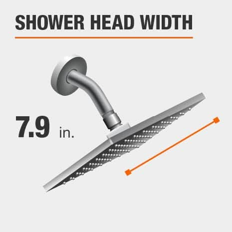 Showerhead is 7.9 Inches Wide