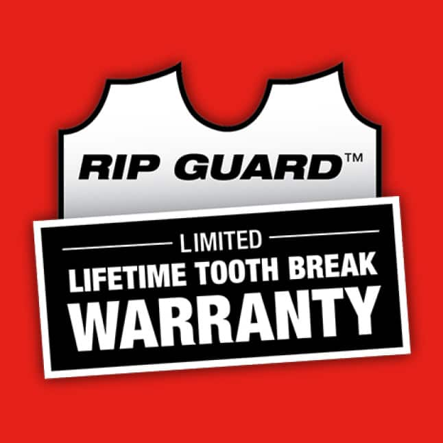 Backed by the Rip Guard™ Limited Lifetime Tooth Break Warranty