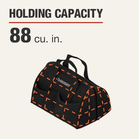 Husky 14 inch Large Mouth Tool Bag features 88 cubic inches of storage