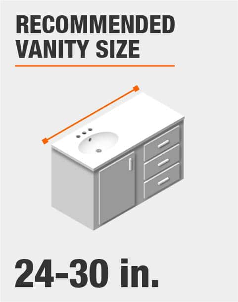 Recommended vanity size 24 - 30 inches