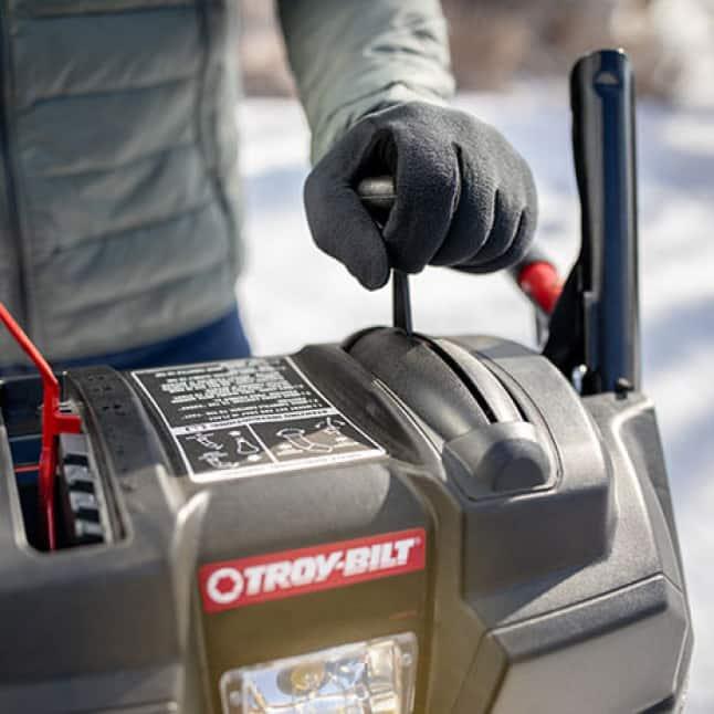 snow blower, snow thrower, clutch lock, just one hand, Troy-Bilt