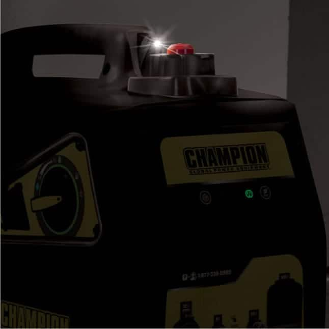 Lifestyle image of inverter generator in the dark, featuring the Fuel Fill Assist LED light