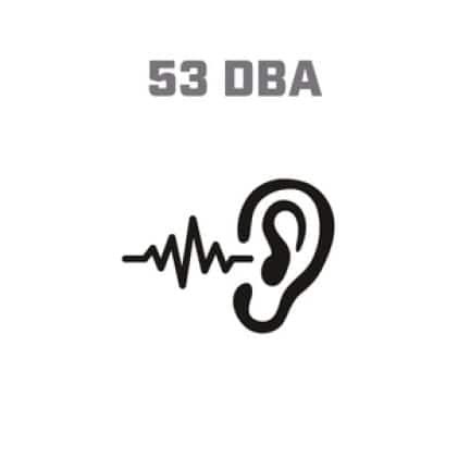Icon image of soundwaves entering ear, showing 53 DBA