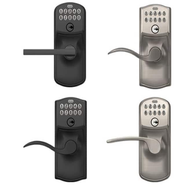Schlage Plymouth Matte Black keypad Latitude lever, Schlage Camelot Satin Nickel keypad Accent lever, Schlage Camelot Matte Black keypad Accent lever,
