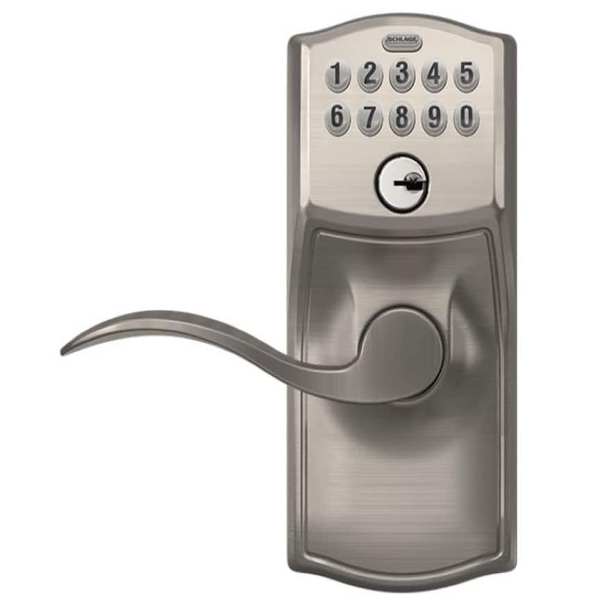 Schlage Camelot satin nickel keypad Accent lever.