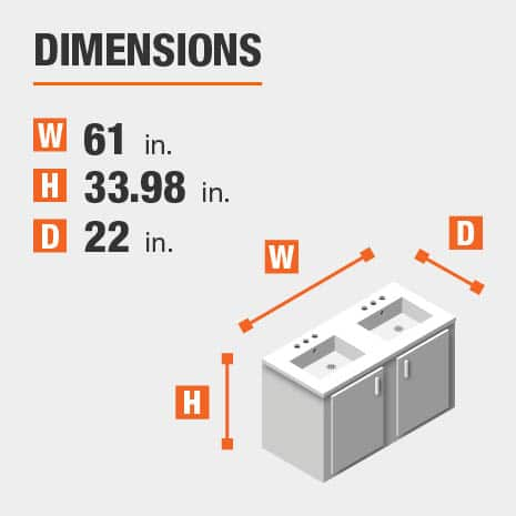 The dimensions of this bathroom vanity are 61.00 in. W x 33.98 in. H x 22.00 in. D