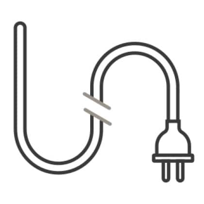 An icon of an electrical cord and plug with a disconnect in the center, signifying certain features being deactivated while in Shabbos mode.