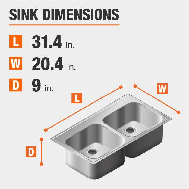 Sink Dimensions Width=20.4 inches Length=31.4 inches Depth=9 inches
