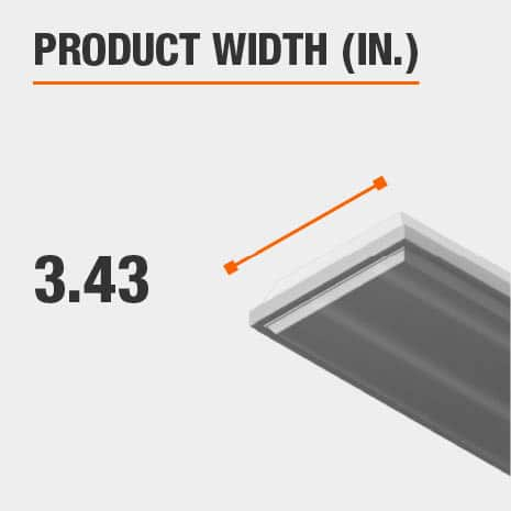 This light fixture has a width of 3.43 inches.