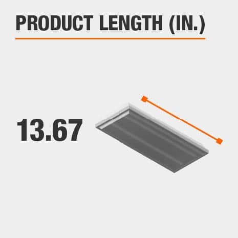 This light fixture has a length of 13.67 inches.