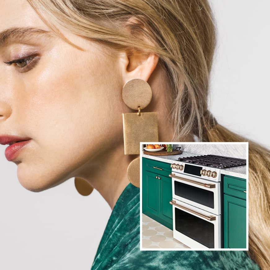 An image of a Café stove installed in green and marble cabinetry is superimposed over a woman dressed in trendy green clothes that match the cabinets.