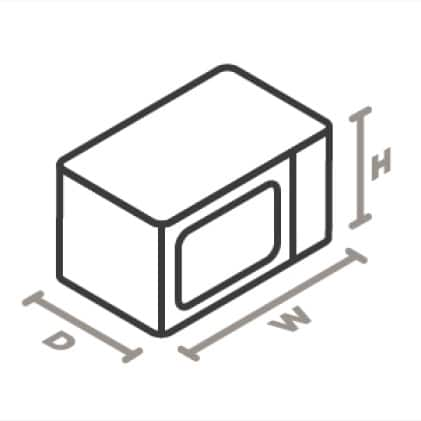 An icon of a microwave viewed from a corner looking down. Lines designate and measure the height, width, and depth of the appliance.