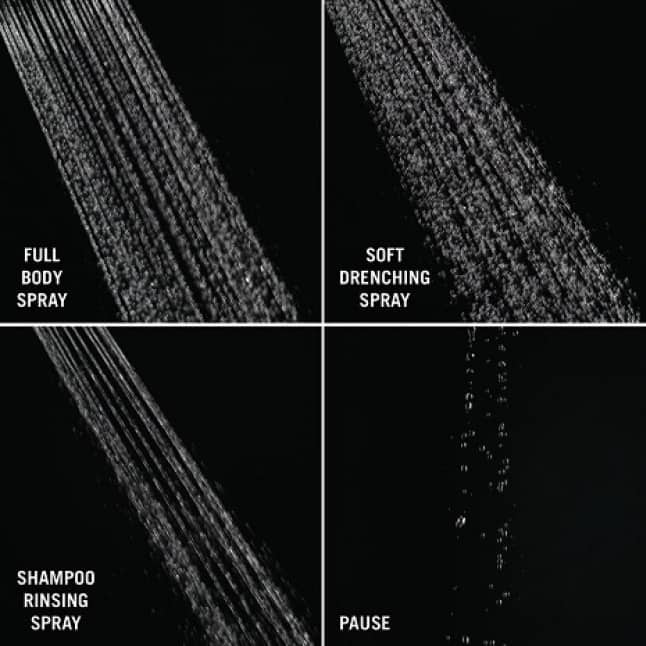 Image shows four up-close images of different spray settings on a black background: full body spray, shampoo rinsing spray, soft rain spray and pause