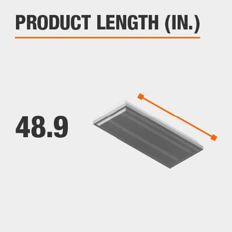 This light fixture has a length of 48.9 inches.