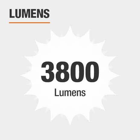 This light has a brightness of 3800 lumens.