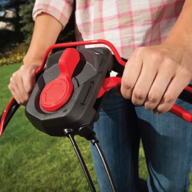 Troy-Bilt gas walk behind mower, push mower, lawn mower, rear wheel drive, better traction