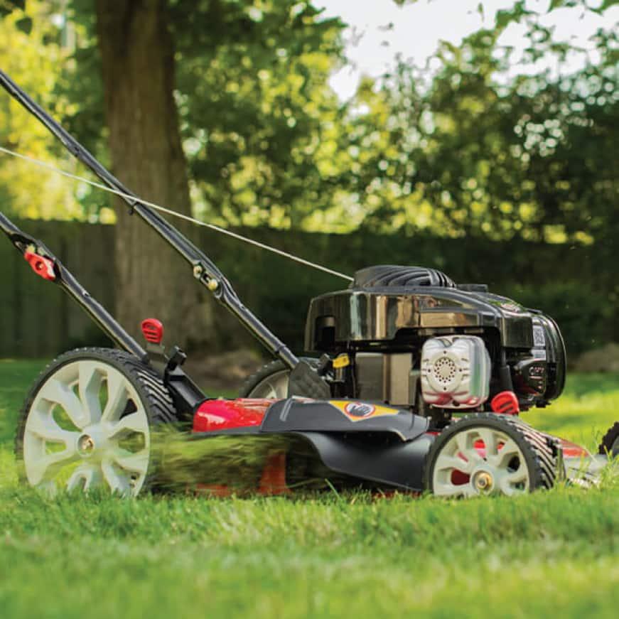 Troy-Bilt gas walk behind mower, push mower, lawn mower, check don't change, oil change, easy maintenance