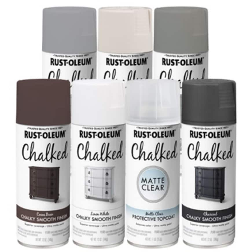 Classic chalk paint look available as spray on formula for fast and easy application