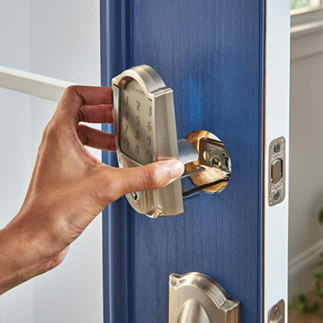 Installing Schlage Encode Smart WiFi Deadbolt to front door.