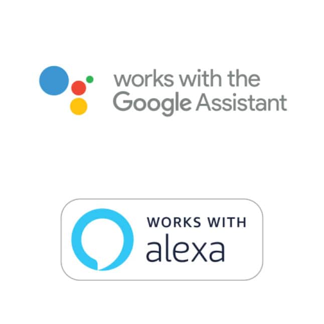 Schlage Encode smart lock works with Google Assistant badge and Works with Alexa badge.