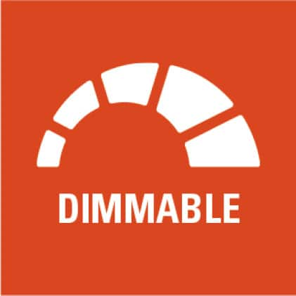 Dimmable to 5% with many 120-volt control dimmers.